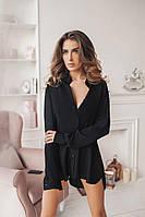 Рубашка женская Ткань штапель, 100% котон. цвет черный фото реал супер качество ст №024-300