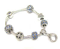 Браслет в стиле Pandora (Пандора) Корона 7 шармов в бархатном мешочке