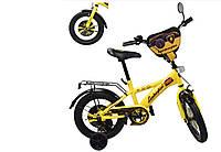 """Велосипед двухколесный 14 дюймов """"Ламборджини"""" со звонком, зеркалом и страховочными колесами, ручным тормозом"""
