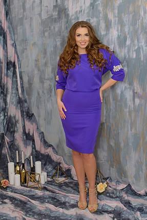 """Шикарное женское платье ткань """"Костюмная"""" с разрезами на рукавах из кружева 48, 50, 52 размер батал, фото 2"""