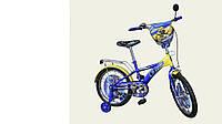 """Велосипед двухколесный 14 дюймов """"Трансформеры"""" со звонком, зеркалом и страховочными колесами, ручным тормозом"""