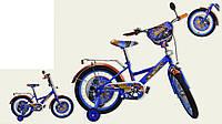 """Велосипед двухколесный 14 дюймов """"Хот Вилс"""" со звонком, зеркалом и страховочными колесами, ручным тормозом"""