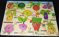 Деревянная рамка - вкладыш Овощи и фрукты