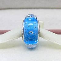 """Шарм бусина Pandora (Пандора) """"Муранское стекло Голубые пузырьки"""""""