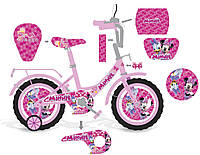 """Велосипед двухколесный 14 дюймов """"Минни Маус"""" со звонком, зеркалом и страховочными колесами, ручным тормозом"""