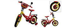 """Велосипед двухколесный 16 дюймов """"Тачки"""" со звонком, зеркалом и страховочными колесами, ручным тормозом"""