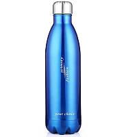 Термос спорт бутылка S'Well Sport глянцевая с надписями 500 мл синий
