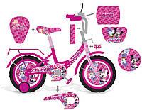 """Велосипед двухколесный 16 дюймов """"Минни маус"""" со звонком, зеркалом и страховочными колесами, ручным тормозом"""