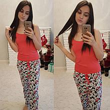Женская пижама, вискоза + коттон, р-р С; М; Л; ХЛ; ХХЛ (коралловый)
