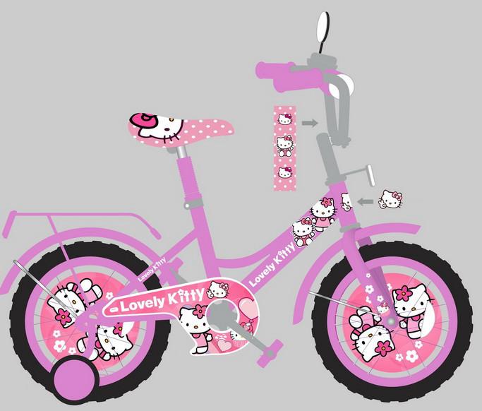 """Велосипед двухколесный 16 дюймов """"Hello Kitty"""" со звонком, зеркалом и страховочными колесами, ручным тормозом"""