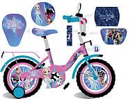 """Велосипед двухколесный 16 дюймов """"Frozen"""" со звонком, зеркалом и страховочными колесами, ручным тормозом"""
