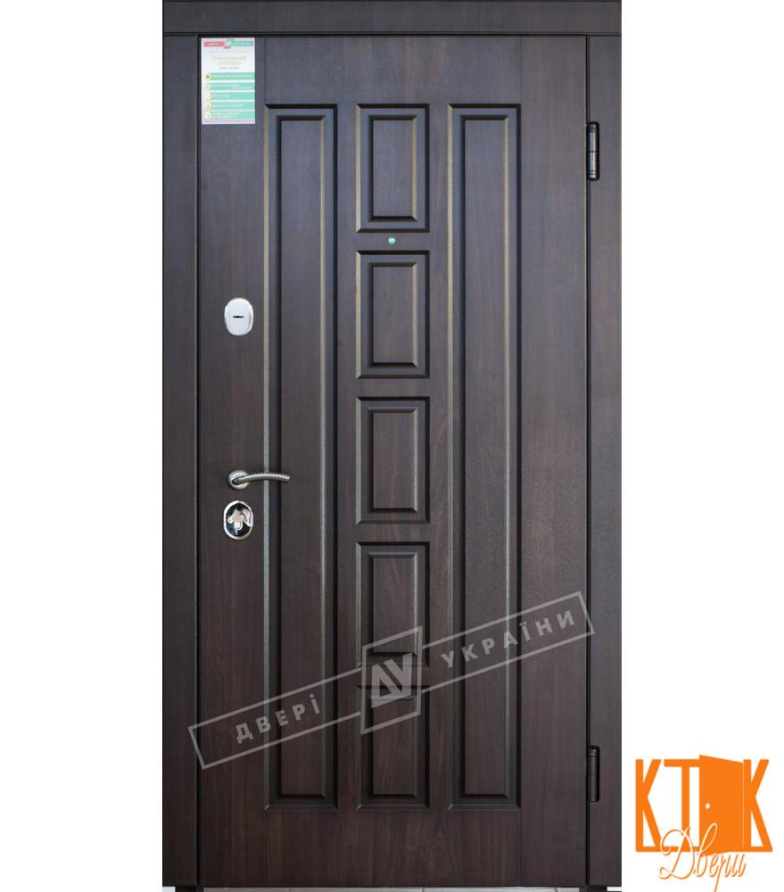 """Уличная дверь """"Квадро"""" серии """"Белорусский стандарт"""" (Орех тёмный DE-98037-10+патина / Орех тёмный)"""