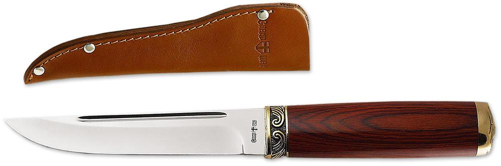 Нож нескладной 2215 KP (чехол кожа) универсальный нож с фиксированным клинком MHR /05-11