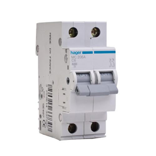 Автоматический выключатель 2п, 6А, C, 6kA, MC206A Hager