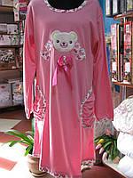 Ночная рубашка с длинным рукавом с мишкой в розовом цвете
