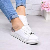 Слипоны женские белый + пудра на шнурках Urban 4353