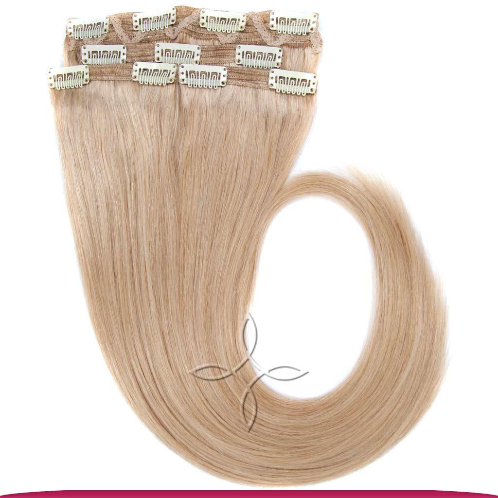 Натуральные Европейские Волосы на Заколках 55 см 110 грамм, Блонд №24