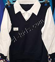 Рубашка-обманка для мальчика 4-6 лет(белая) опт (пр. Турция)