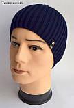 Модная шапка для подростка мальчика Цвет Джинс Размер 52-56, Джинсовый, 52-56, фото 2