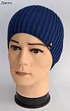 Модная шапка для подростка мальчика Цвет Джинс Размер 52-56, Джинсовый, 52-56, фото 4