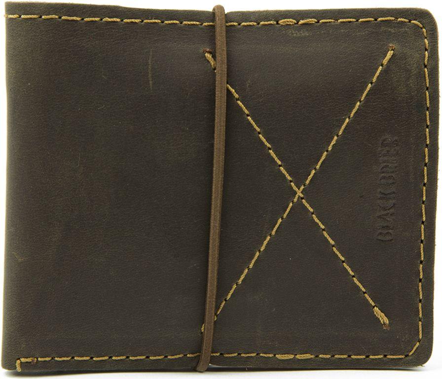 68ef3c5845bd Тонкое кожаное портмоне на резинке для мужчины Black Brier П-1-33 коричневое