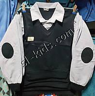 Рубашка-обманка для мальчика 6-10 лет(голубая 1) (пр. Турция)
