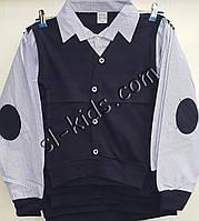Рубашка-обманка для мальчика 6-10 лет(голубая 2) (пр. Турция)