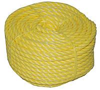 Туристическая желтая веревка 6 мм длина 15, 24 м