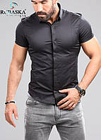 Стильная черная рубашка с коротким рукавом
