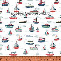 Ткань хлопковая. Корабли. Белый, красный. Морская тематика. Морской причал.