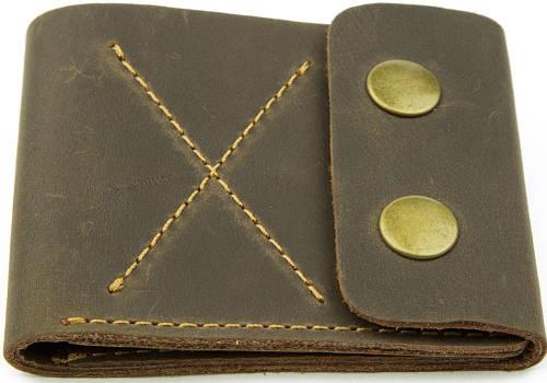 Кожаное мужское портмоне на кнопках Black Brier П-2-33 коричневое
