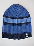 Полосатая шапка для мальчика Мода 2020, Светло-серый, 52-56, фото 5