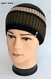 Полосатая шапка для мальчика Мода 2020, Светло-серый, 52-56, фото 6