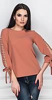 Блуза с разрезом на рукаве терракотовая