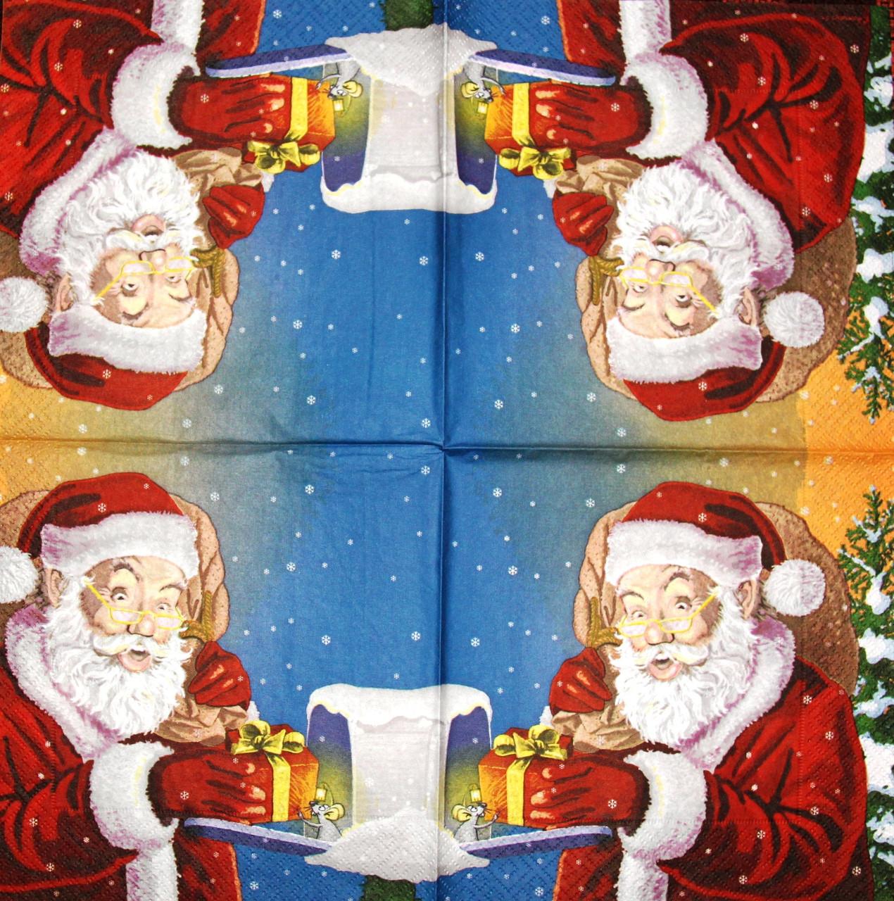 Салфетка декупажная Санта дарит подарок 299