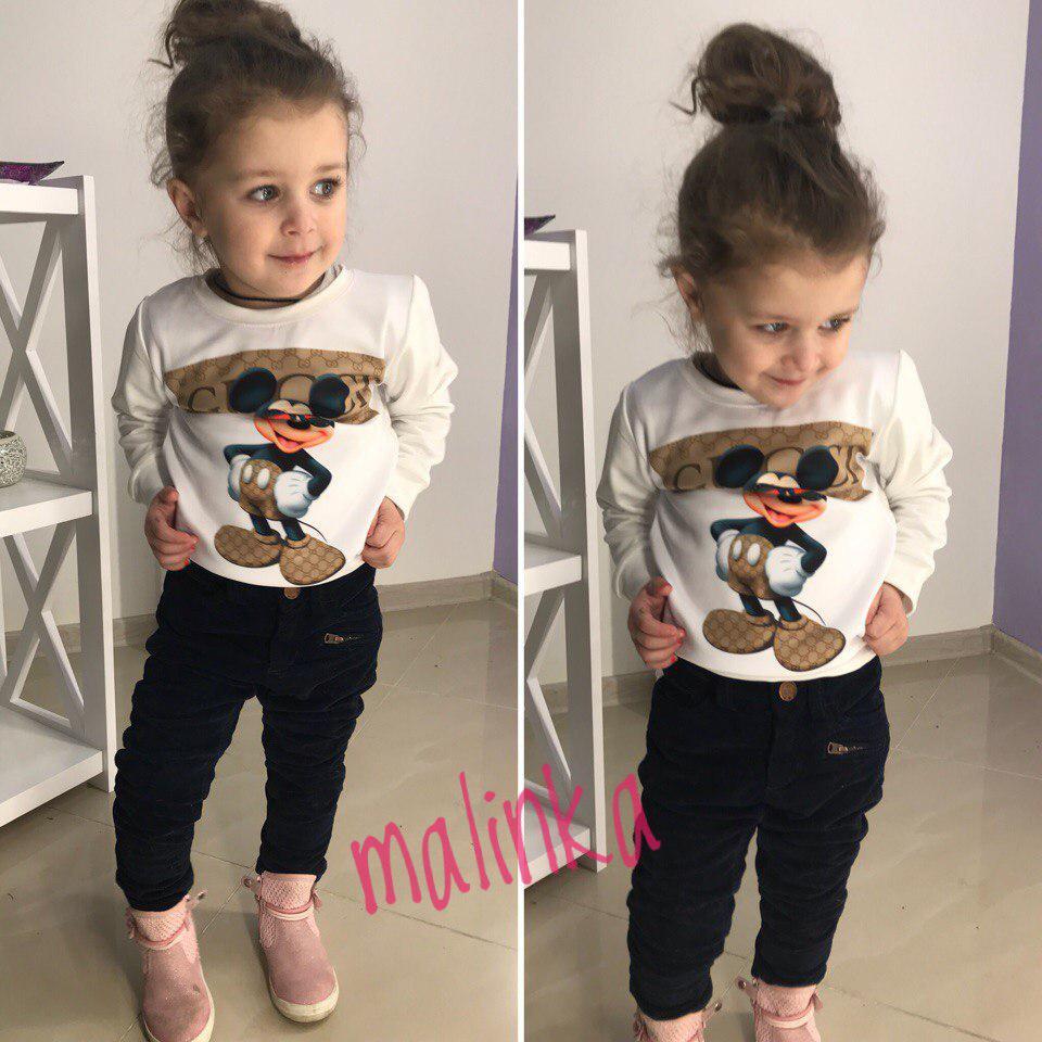 Детский свитшот с микки маусом двунитка