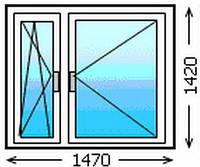 Деревянное окно 1470*1420