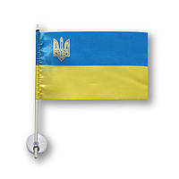 Прапорець України (прапорець) в машину з присоском , поліестер , 10х15 см