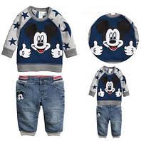 """Реглан и джинсовые бриджи на мальчика """"Микки Маус"""""""