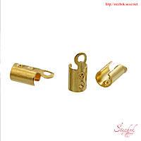 Зажим для шнура 8х3мм золото в форме цилиндра для рукоделия