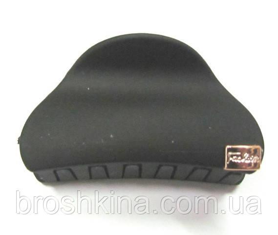 Заколка-краб для волос каучук L 6 см черная