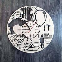 Круглые концептуальные часы из дерева «Оно» (30 см) [Натуральное дерево, Открытые]
