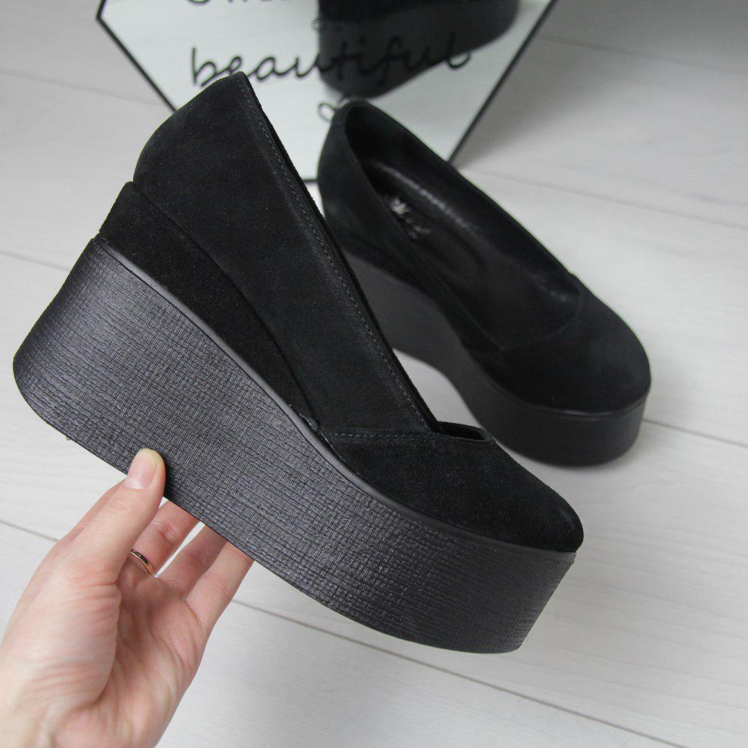 0c3fc654b6f7 Туфли на платформе натуральная замша чёрные женские р 36 : продажа ...