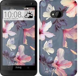 "Чехол на HTC One M7 Нарисованные цветы ""2714c-36-328"""
