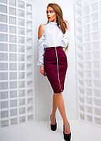 Элегантный женский костюм (замша на дайвинге, шелк армани, юбка-карандаш на молнии, блуза) РАЗНЫЕ ЦВЕТА!, фото 1