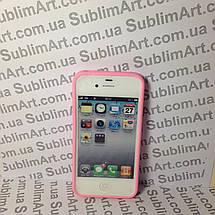Чехол для 2D сублимации резиновый (TPU) на Iphone 4/4S розовый, фото 2