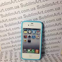 Чехол для 2D сублимации резиновый (TPU) на Iphone 4/4S голубой, фото 2