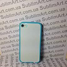 Чехол для 2D сублимации резиновый (TPU) на Iphone 4/4S голубой, фото 3
