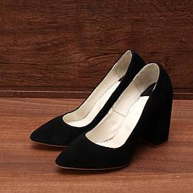 Туфли женские замшевые на высоком каблуке чёрные размер 35, 36, 37, 38, 39, 40