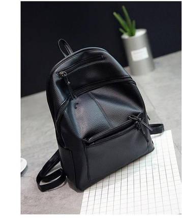 Чорний жіночий рюкзак міський, фото 2
